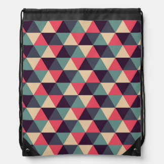 Teal And Pink Triangle Pattern Drawstring Bag
