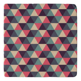 Teal And Pink Triangle Pattern Trivet