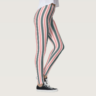 Teal and Pink Vertical Striped Pattern Leggings