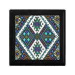 Teal and purple aztec pixel pattern. small square gift box
