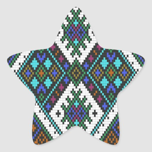 Teal and purple aztec pixel pattern. star stickers