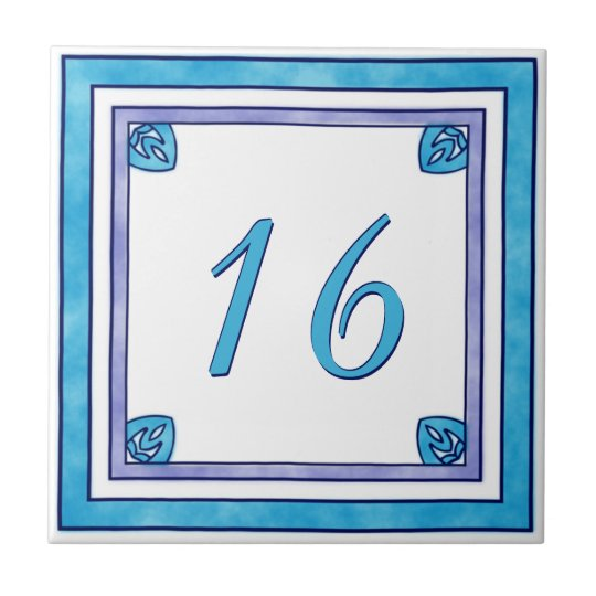 Teal and Purple Big House Number Small Square