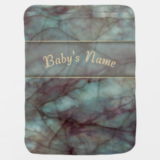 Teal and Purple Fluorite Marble Baby Blanket