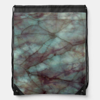Teal and Purple Fluorite Marble Drawstring Backpacks