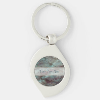 Teal and Purple Fluorite Marble Key Chain