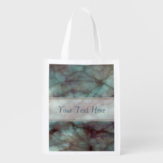 Teal and Purple Fluorite Marble Reusable Grocery Bag