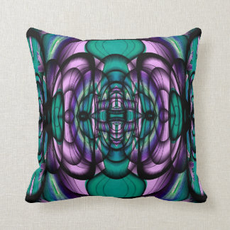 Teal and Purple Fractal Design American MoJo Pillo Throw Pillow