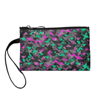 Teal and Purple Geometric Explosion Change Purse