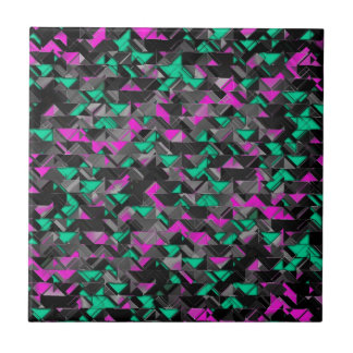 Teal and Purple Geometric Explosion Tile