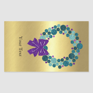 Teal and Purple Glittery Wreath of Ornaments Rectangular Sticker