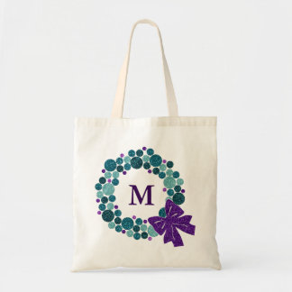 Teal and Purple Glittery Wreath of Ornaments Budget Tote Bag