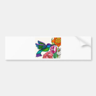 Teal and Purple Hummingbird with Flowers Bumper Sticker