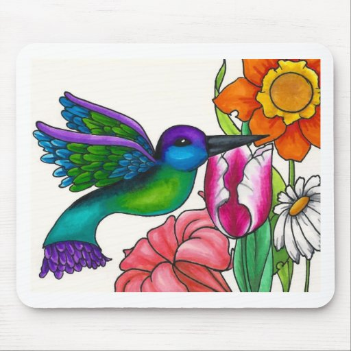 Teal and Purple Hummingbird with Flowers Mouse Pads