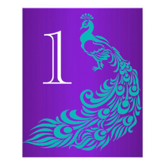 Teal and Purple Peacock Table Numbers 11.5 Cm X 14 Cm Flyer
