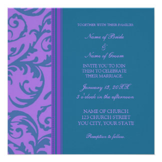 Teal and Purple Swirl Wedding Invitation Cards