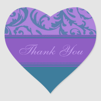 Teal and Purple Thank You Wedding Envelope Seals Heart Sticker