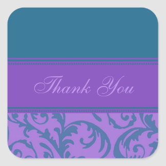 Teal and Purple Thank You Wedding Envelope Seals Square Sticker