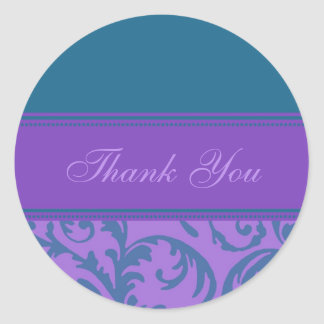 Teal and Purple Thank You Wedding Envelope Seals Classic Round Sticker