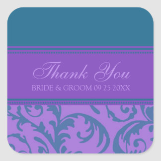 Teal and Purple Thank You Wedding Favor Tags Square Sticker