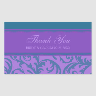 Teal and Purple Thank You Wedding Favor Tags Rectangular Sticker