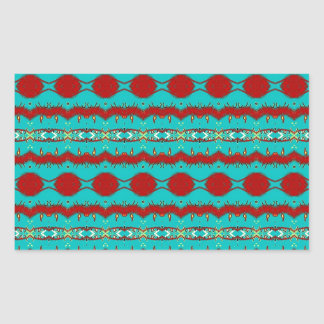 Teal and Red Abstract Rectangular Sticker