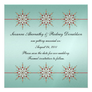 Teal and Red Ornaments Save The Date Custom Announcement