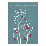Teal and Red Winter Snow Baby Shower Invitation