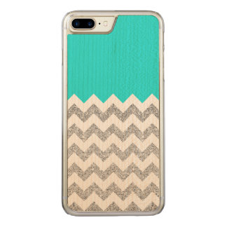 Teal and Silver Faux Glitter Chevron Carved iPhone 8 Plus/7 Plus Case