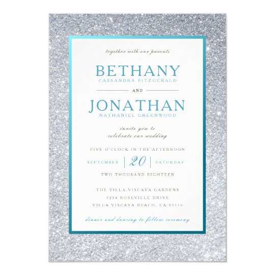 Teal And Silver Wedding Invitations: Teal And Silver Glitter Wedding Invitation