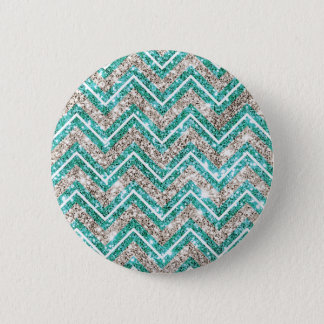 Teal and silver glittery chevron pattern. 6 cm round badge