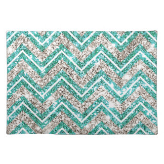 Teal and silver glittery chevron pattern. placemat