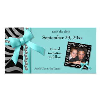 Teal And Silver Zebra Gems Save The Date Card Customised Photo Card
