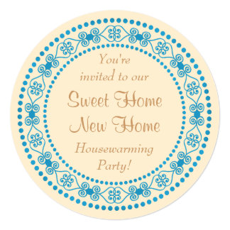 Teal and Tan Country Chic Housewarming Party 5.25x5.25 Square Paper Invitation Card