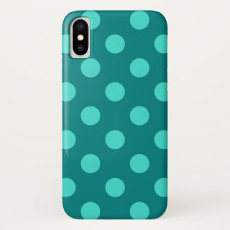 Teal and Turquoise Polka Dots iPhone X Case