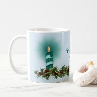 Teal and TurquoiseBlue Christmas Candle Coffee Mug