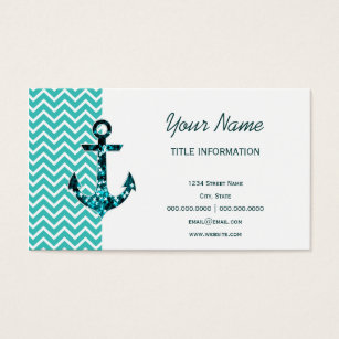 Nautical star business cards business card printing zazzle uk teal and turquouise chevron nautical anchor business card reheart Choice Image