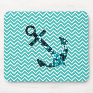 Teal and Turquouise Chevron Nautical Anchor Mouse Mat