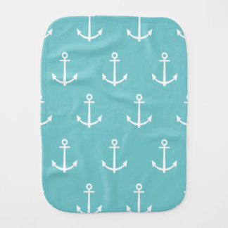 Teal and White Anchors Pattern 1 Burp Cloth