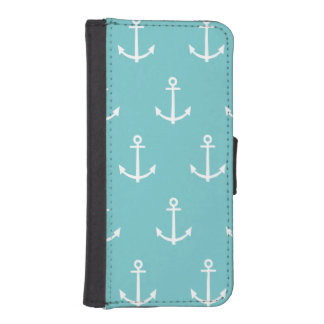 Teal and White Anchors Pattern 1 iPhone SE/5/5s Wallet Case