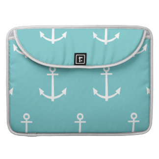 Teal and White Anchors Pattern 1 Sleeve For MacBooks