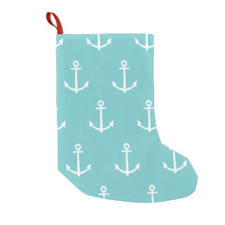 Teal and White Anchors Pattern 1 Small Christmas Stocking