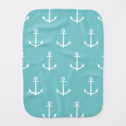Teal and White Anchors Pattern 1 Baby Burp Cloths