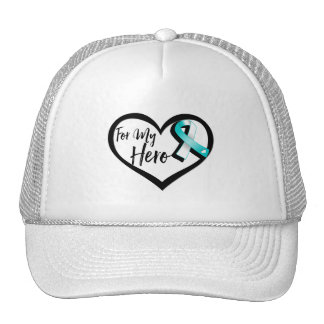 Teal and White Awareness Ribbon For My Hero Cap
