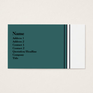 teal and white business card