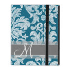 Teal and White Chalkboard Damask Pattern iPad Case