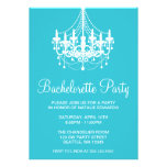 Teal and White Chandelier Bachelorette Party Custom Invites