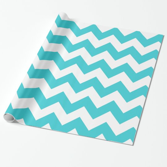 Teal and White Chevron Gift Wrapping Paper