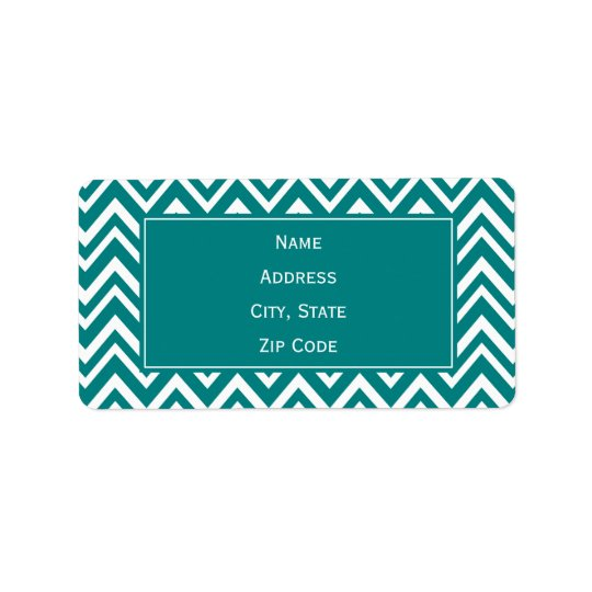 Teal and White Chevron Pattern Address Label