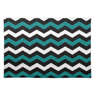 TEAL AND WHITE CHEVRON PLACEMAT