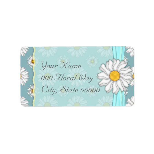 Teal and White DaisyFloral Wedding Address Lables Address Label